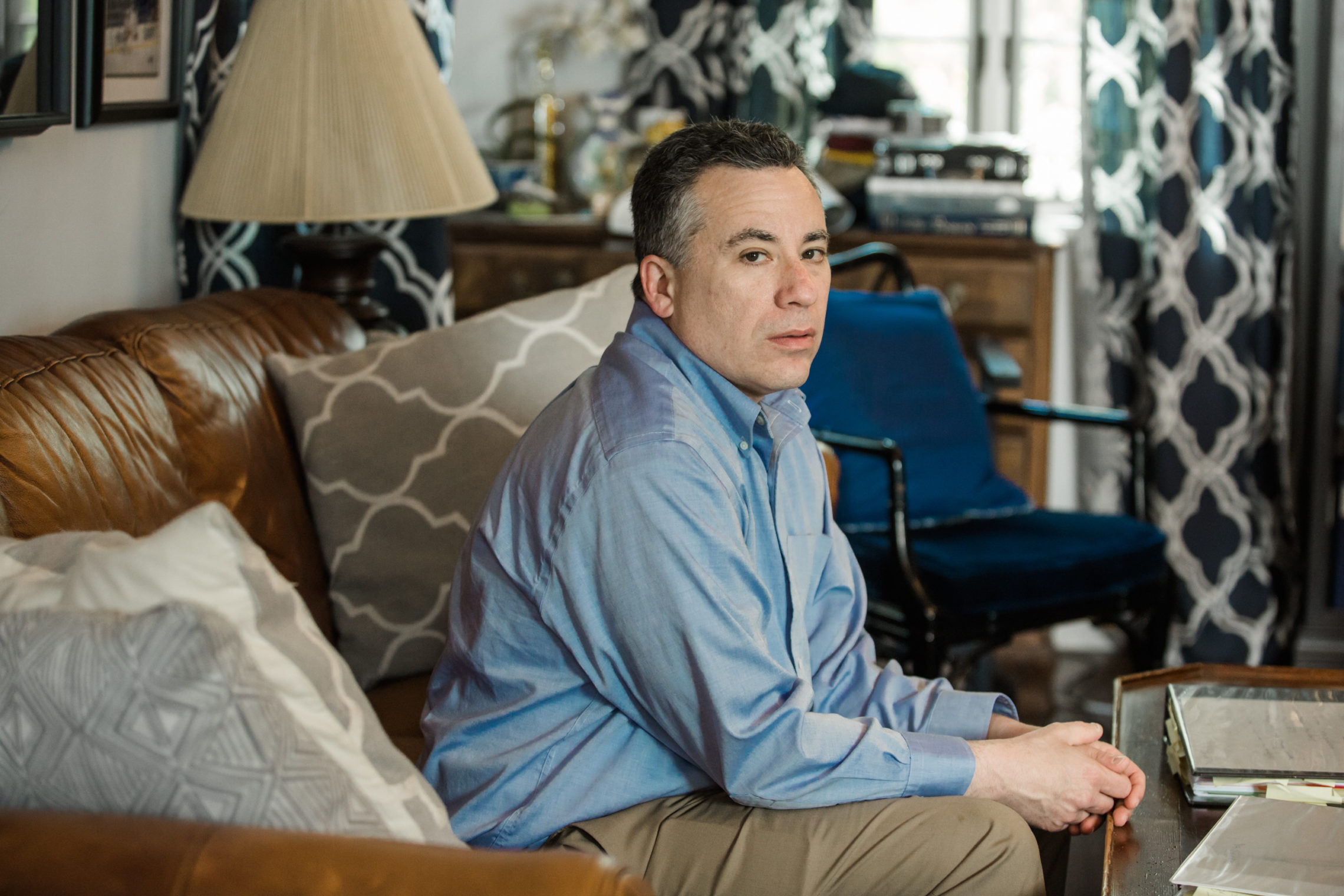 """As bad as NYU is, Aetna is equally culpable because Aetna's job was to be the checks and balances and to be my advocate,"" said Michael Frank, seen at his home in Port Chester, N.Y. CREDIT: ANNIE TRITT/PROPUBLICA"