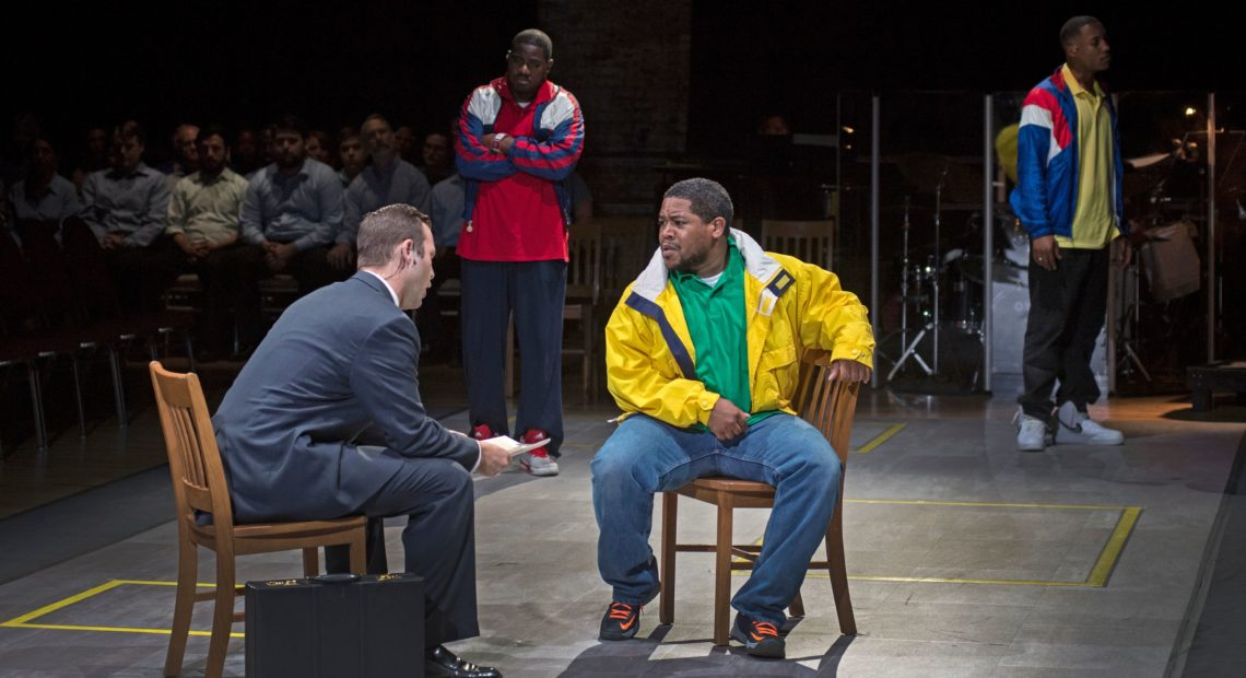 (Left to right) Joseph Lattanzi, Sankara Harouna, Terrence Chin-Loy and Miles Wilson-Toliverstar star in Blind Injustice, presented through the Cincinnati Opera. CREDIT: Philip Groshong/Courtesy of Cincinnati Opera