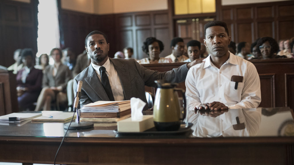Bryan Stevenson (Michael B. Jordan) defends wrongly condemned Walter McMillan (Jamie Foxx) in Destin Daniel Cretton's film. CREDIT: Jake Giles Netter/Warner Bros.