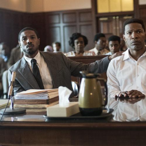 Bryan Stevenson (Michael B. Jordan) defends wrongly condemned Walter McMillan (Jamie Foxx) in Destin Daniel Cretton's film. CREDIT: Jake Giles Netter/Warner Bros.
