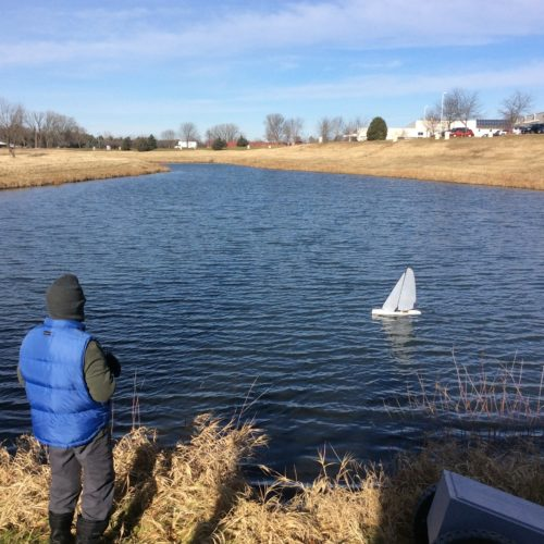 Thomas Germanson sails a radio-controlled model yacht in early December in Madison, Wis. Thomas Germanson