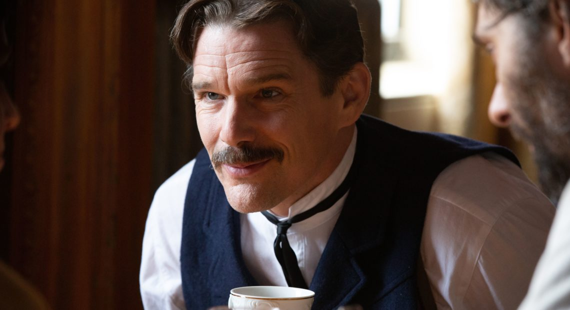 Ethan Hawke plays Serbian American inventor Nikola Tesla in the playful new biopic, Tesla. CREDIT: IFC Films