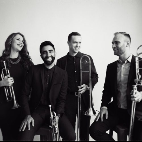 The members of New York-based brass quartet The Westerlies are rehearsing together thousands of miles apart, thanks to Audio Movers. Courtesy of the artist