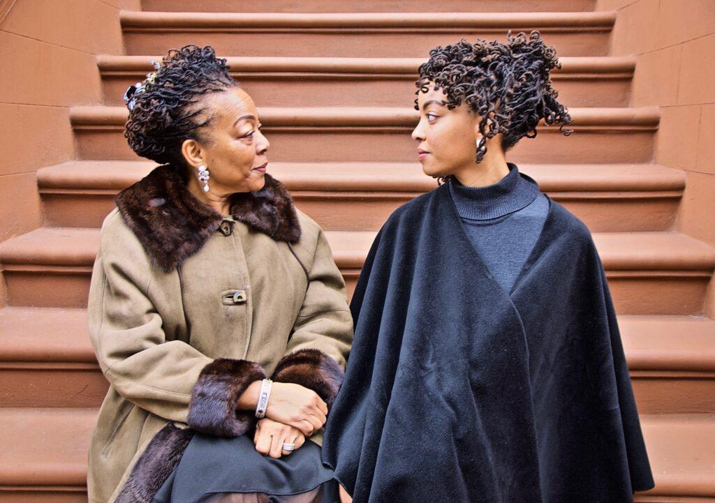 The Stoop Stare Down (Nia & Afiya, Two Generations in Harlem), Jan. 26, 2020, 3:30 p.m., 42 degrees CREDIT: Ruben Natal-San Miguel/Ruben Natal-San Miguel & Postmasters Gallery