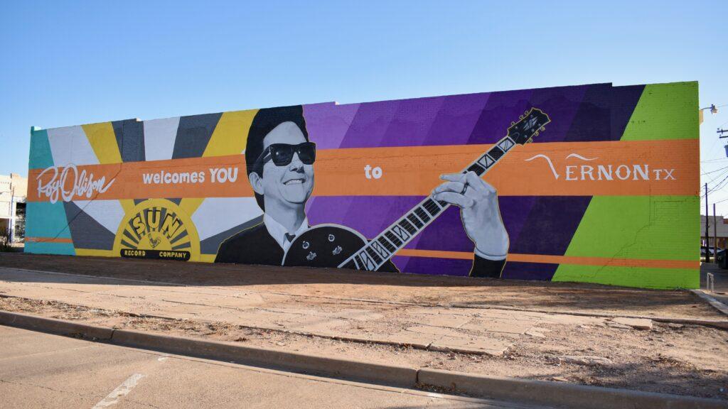 The new mural of Roy Orbison in Vernon, Texas. CREDIT: Ann Arnold-Ogden