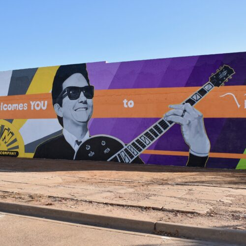 The new mural of Roy Orbison in Vernon, Texas. CREDIT: Ann Arnold-Ogden