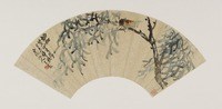 Wang Zhen, Cicada on tree branch, Modern period, 1919, Fan mounted as album leaf, ink on gold-flecked paper, Gift of Robert Hatfield Ellsworth in honor of the 75th Anniversary of the Freer Gallery of Art, F1998.222.2 Freer Gallery of Art, Smithsonian Institution, Washington, D.C.