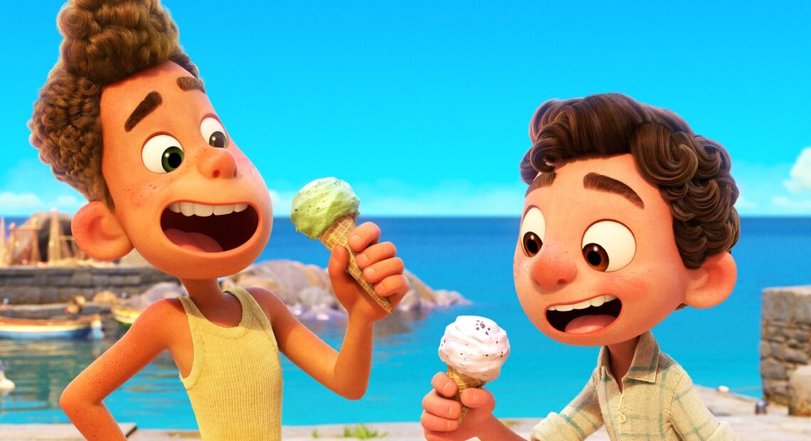 Two sea creatures go undercover as boys in a small Italian Riviera town in the charming Pixar film Luca. CREDIT: Pixar